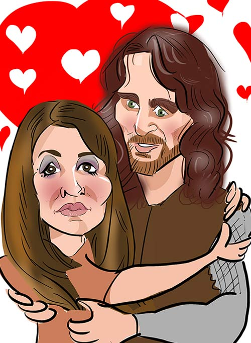 couple captured together in a digital caricature perfect wedding invitations