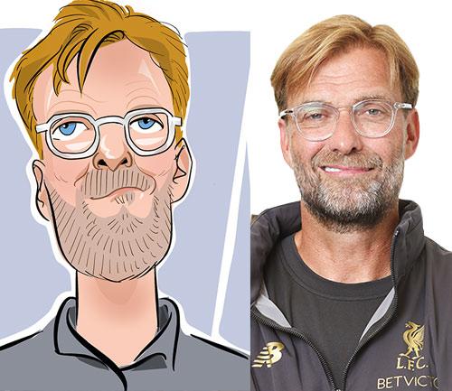Jurgen Kloop  caricature liverpool fc manager caricature