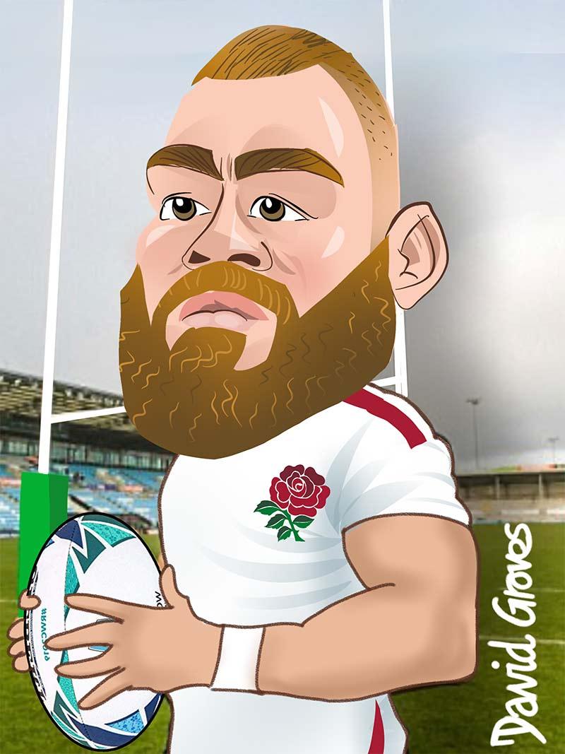 caricature of Luke Cowan Dickie in the England Team