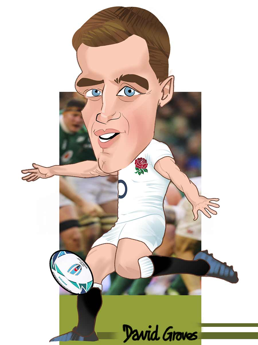 Caricature of Tom George Ford from  the England Rugby team