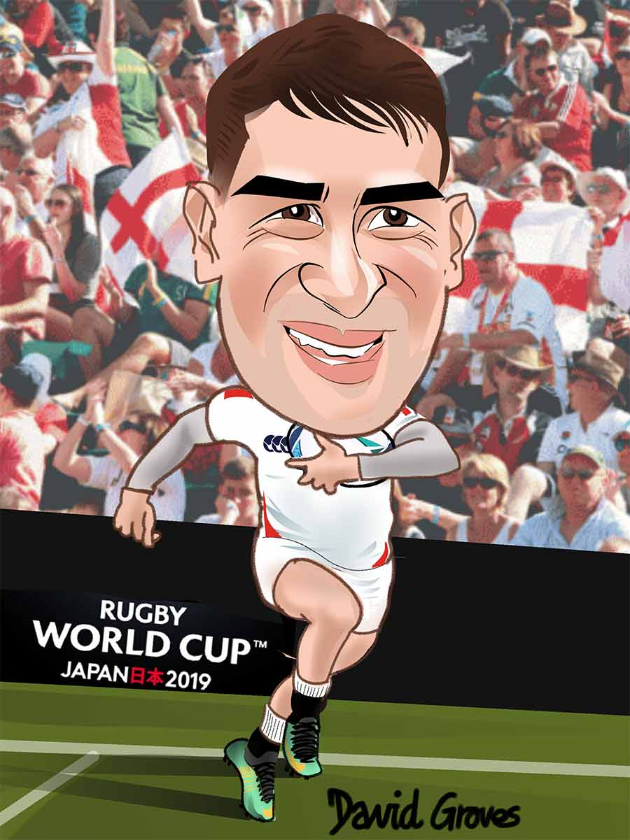 Caricature of Jonny May in the England Rugby Team
