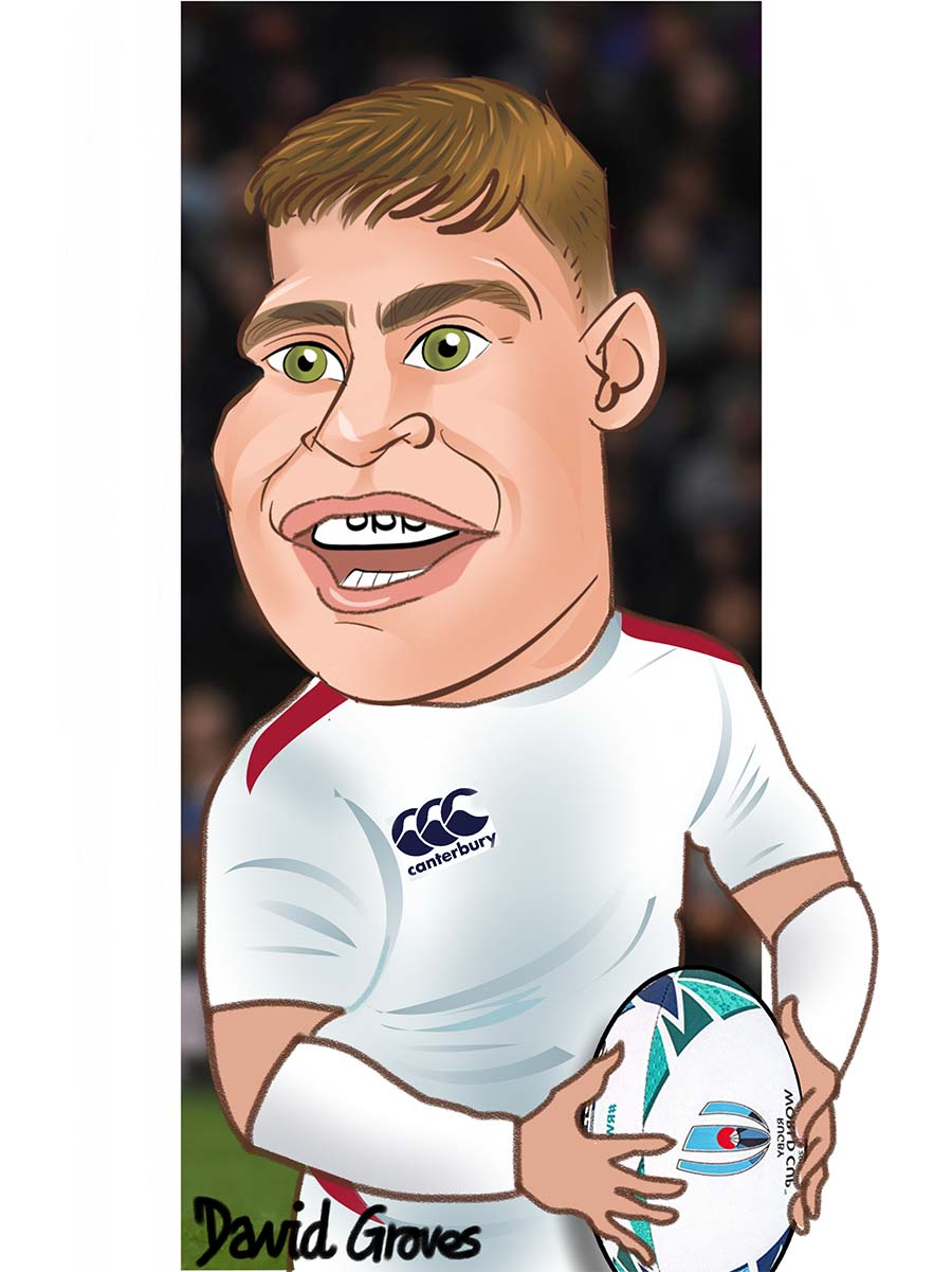 Caricature of Ben Youngs in the England Rugby team