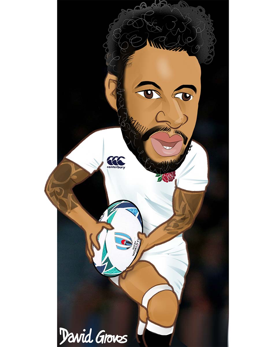 caricature of Courtney Lawes in the England Rugby team