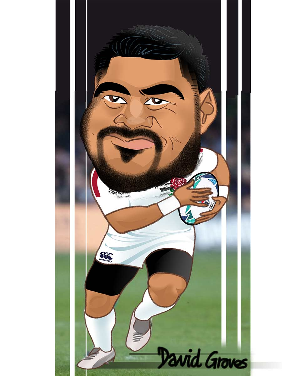 Caricature of Manu Tuilagi in the England Rugby team