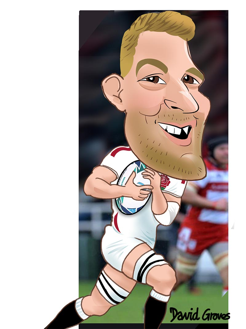 Caricature of Mark Wilson from th England Rugby Team