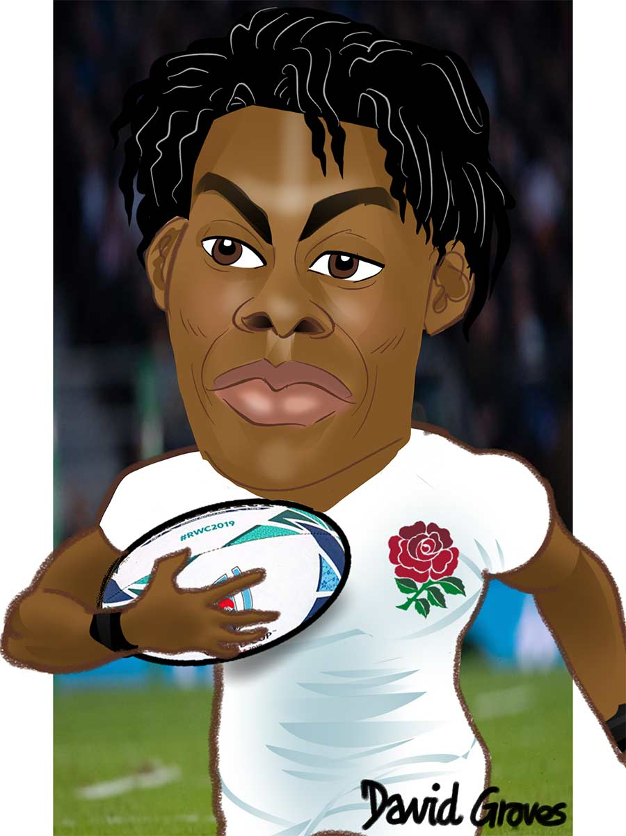 Caricature of Maro Itoje in the England Rugby Team
