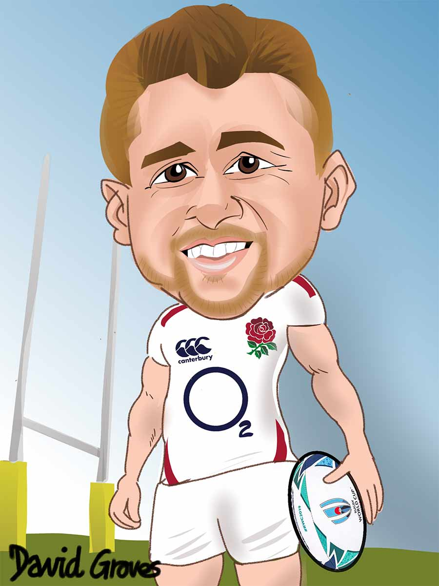 Caricature of Henry Slade in the England Rugby team