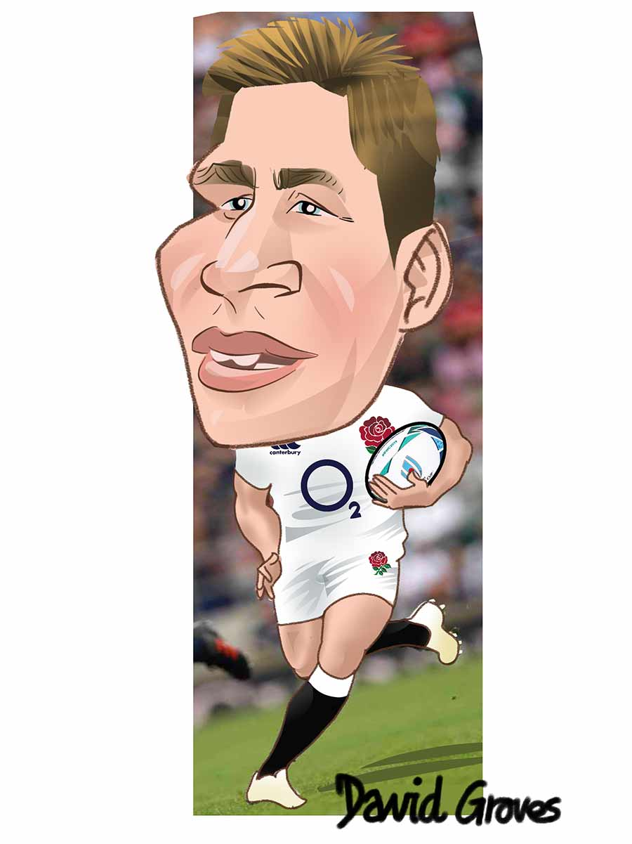 Caricature of Piers Francis in the England Rugby team