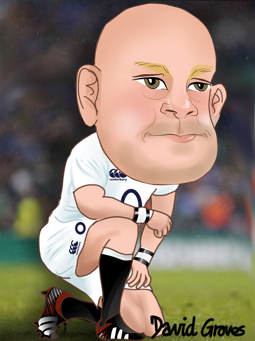 Caricature of Dan Cole in the England Rugby Team