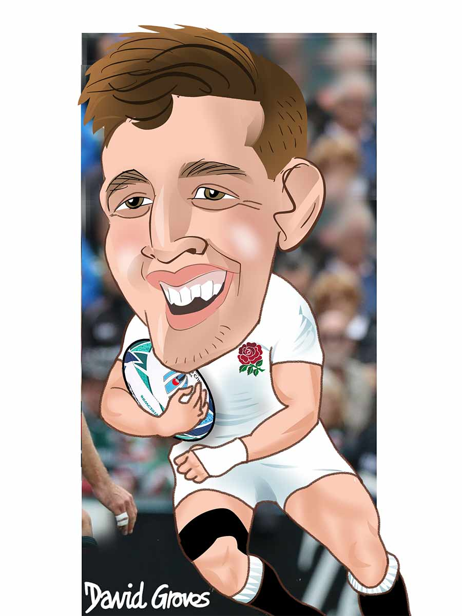 Caricature of Tom Curry from the England Rugby team