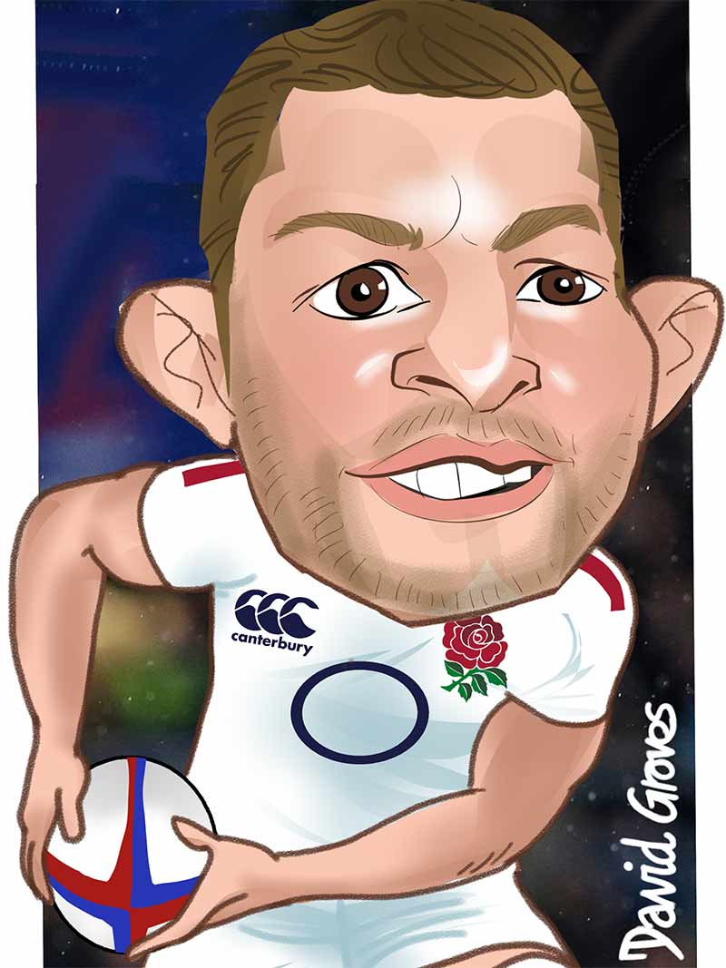 caricature of Sam Underhill for England Rubgy team