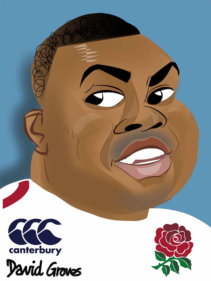 caricature of Kyle Sinckler in the England Rugby team