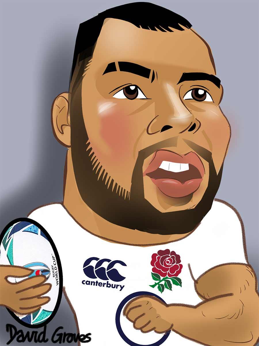 caricature of Ellis Genge in the England Rugby Team