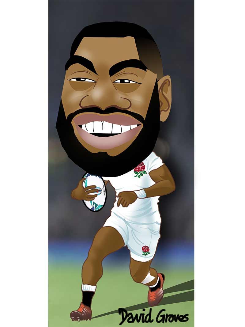 caricature of Joe Cokanasiga in the England Rugby Team