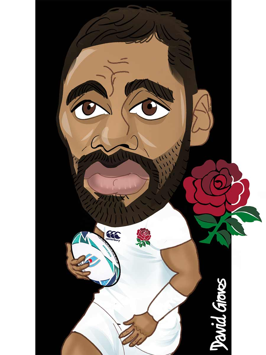 caricature of Billy Vunipola from the England Rugby Team