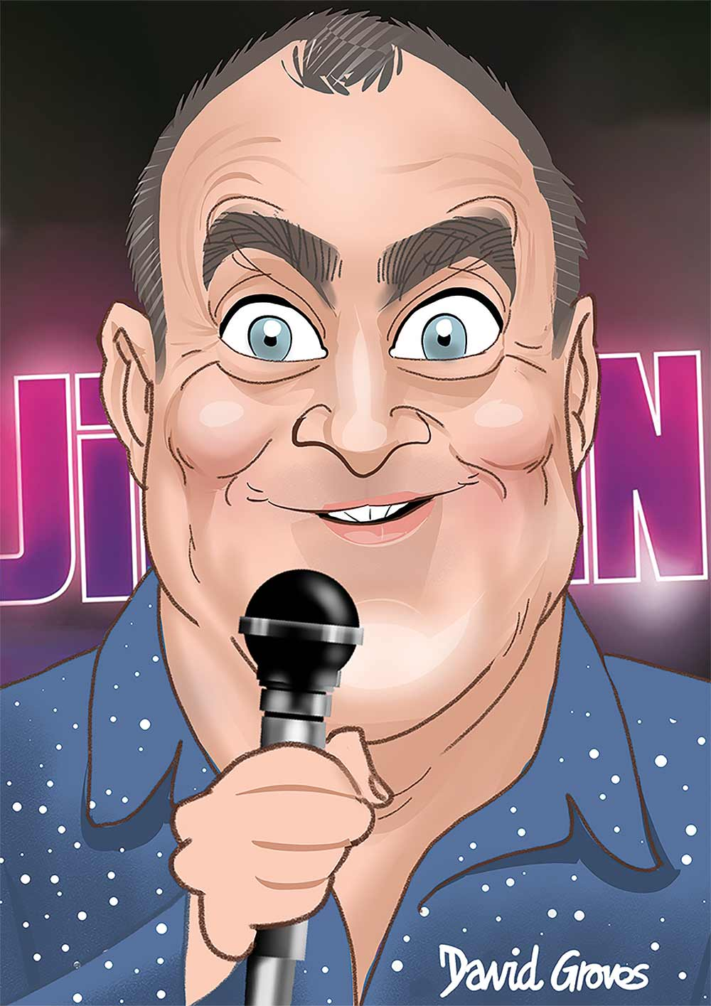 Caricature of Jimeoin the comedian