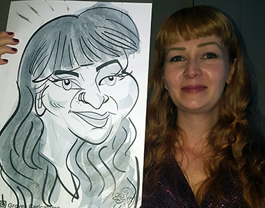 Caricature of Gina at a corporate event Ginger beauty