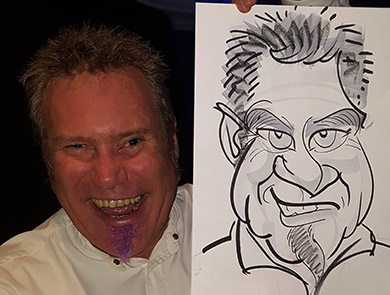 a man with a purple beard holds his caricature