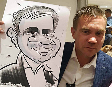 wedding guest with unusual nose loves his caricature