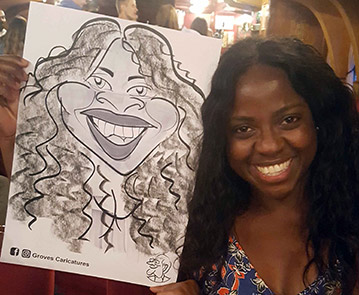 Black female is captured holding her caricature