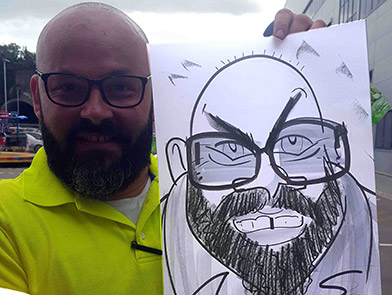 caricature of man who was a security guard at Lidl