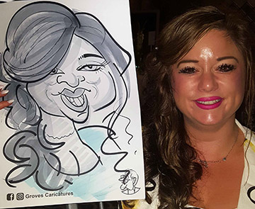Lady with long flowing hair shows off her caricature