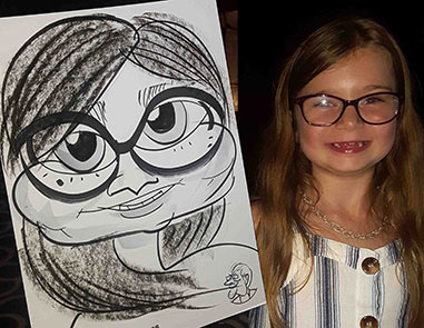 Disney eyes behind glasses. This girl shows off her caricature