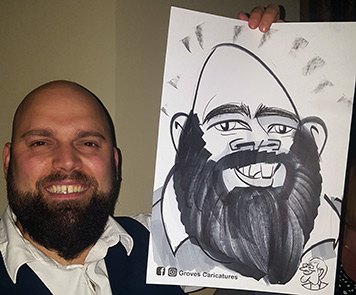 Cone head wedding guest is caricatured