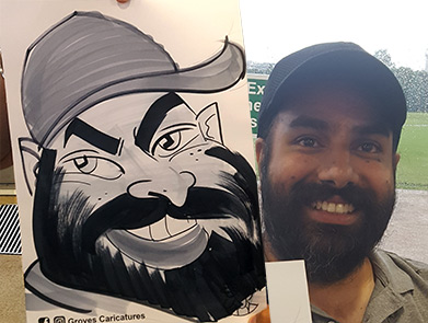 Asian wizard with beard is cartooned