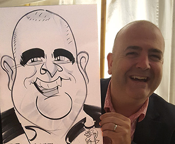 large face man shows off caricature