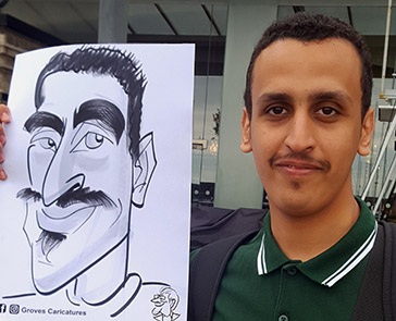 Pointy chin man is drawn with Pens and paper