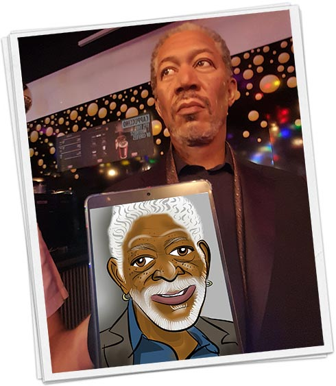 Morgan Freeman holding a cartoon caricature
