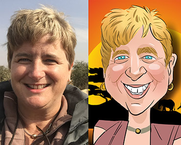A lady photographer gets a digital caricature drawn after coming home from Safari