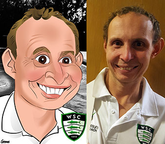 head swimming coach holds up his digital caricature