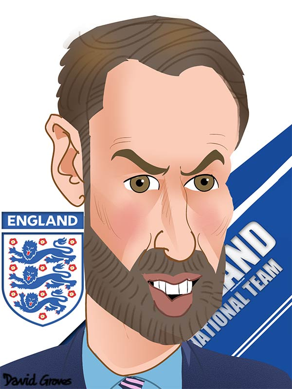 Gareth Southgate England football manager caricature