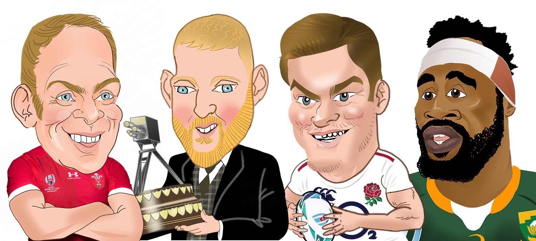 siya kolisi caricature, owen farrell caricature, sport caricature montage, cricketer Ben Stokes Caricature, Welsh Rugby  Caricature.  Alun Wyn Jones caricature