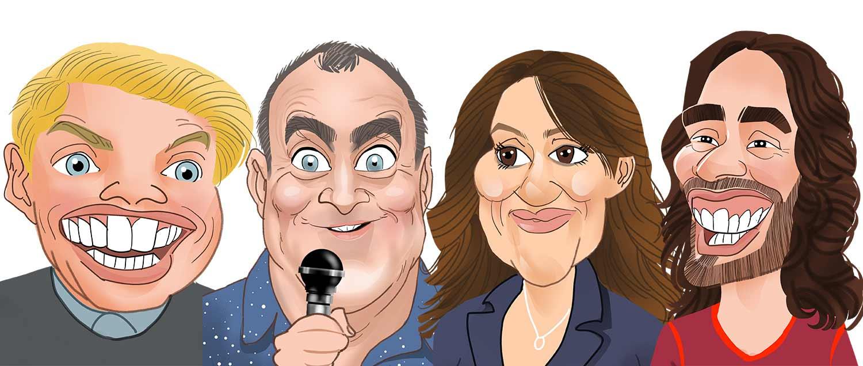 Rob Beckett caricature. Jimeoin Caricature. Nina Conti Caricature. Russell brand Caricature