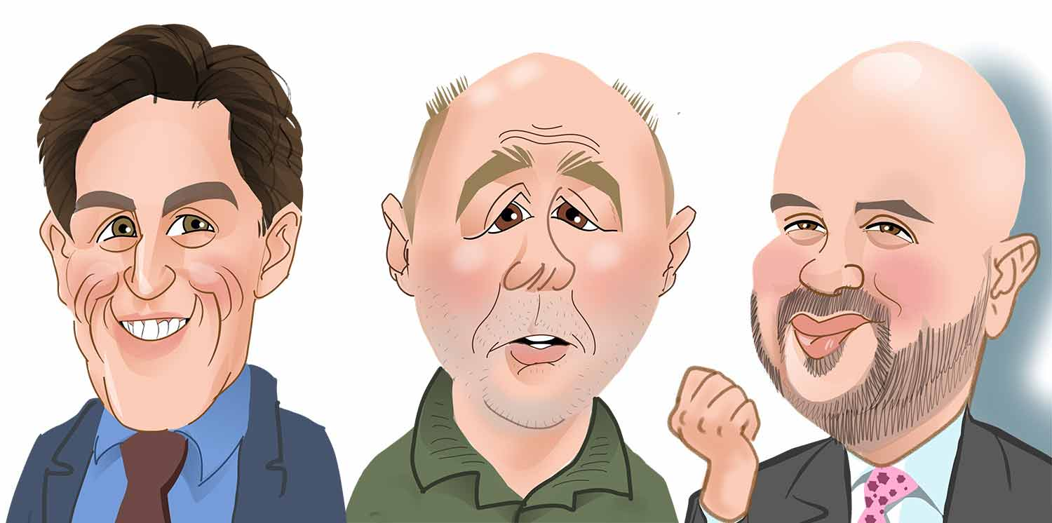 Rob Brydon Caricature. karl Pilkington Caricature. Tom Allen Caricature