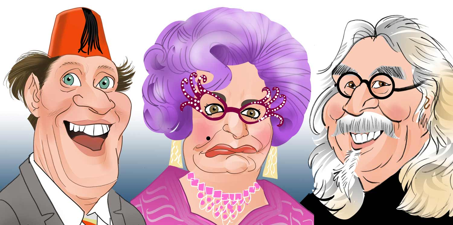 Tommy Cooper Caricature. Dame Edna Everage Caricature.  Barry Humphries Caricature. Billy Connolly Caricature