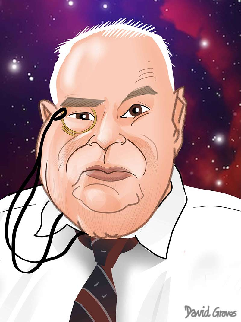 sir patrick moore caricature and cartoon astronomy