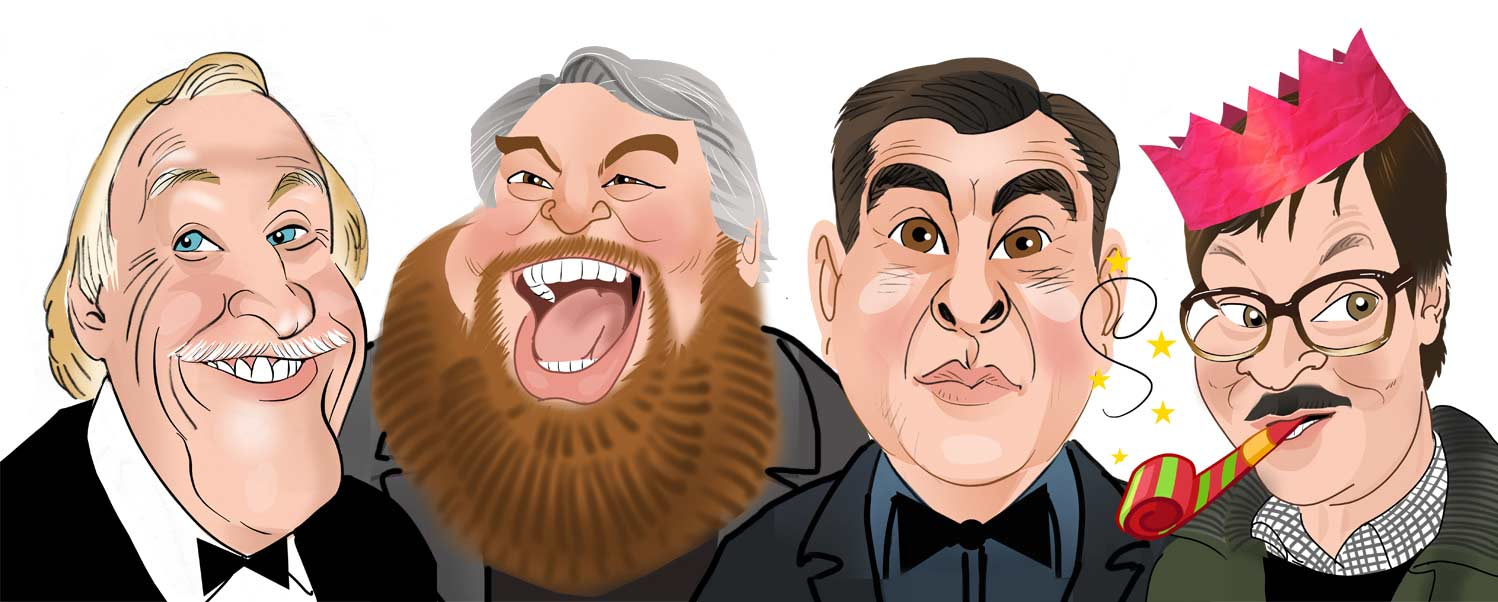Celeb entertainers caricature. David Walliams, Brain Blessed, Bruce Forsyth and Mark Heap Caricature