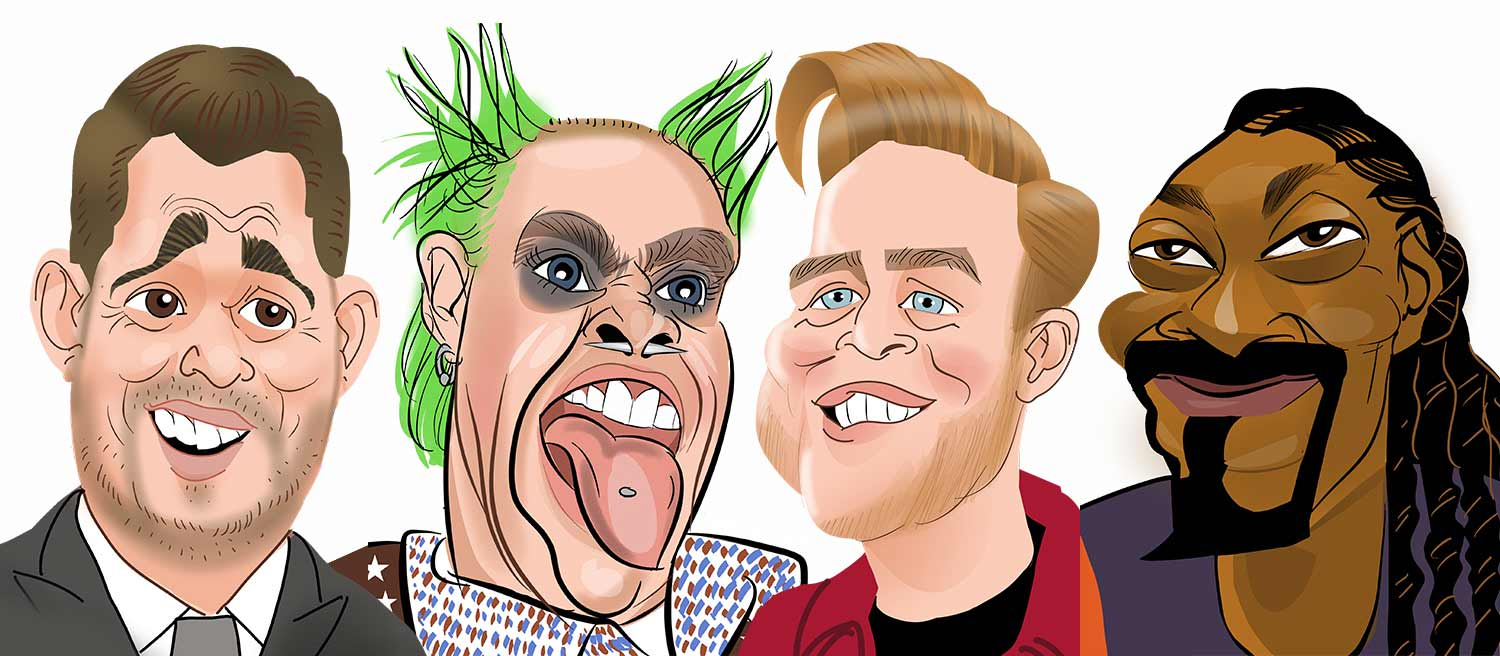 Michael Buble caricatures. Keith Flint caricatures. Olly Murs caricatures.  Snoop Dogg caricature