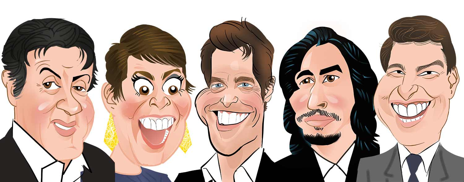 Sylvester Stallone Caricature. Olivia Coleman Caricature. Hugh Grant Caricature. Adam Driver Caricature. Tom Cruise Caricature