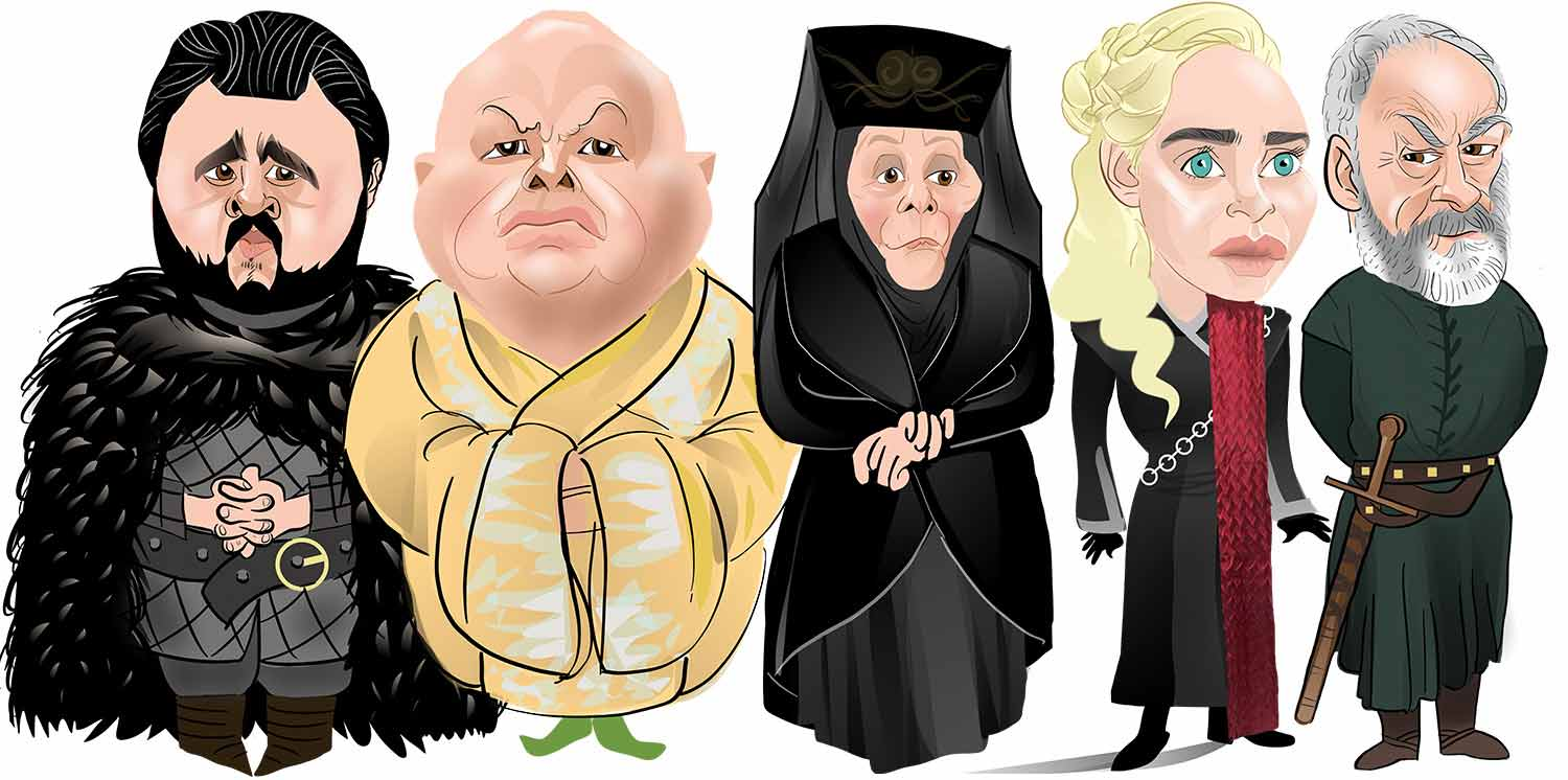 Game of Thrones caricature. House Targaryen and house baratheon Caricature