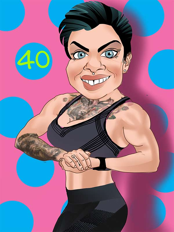 digital caricature full body, body builder