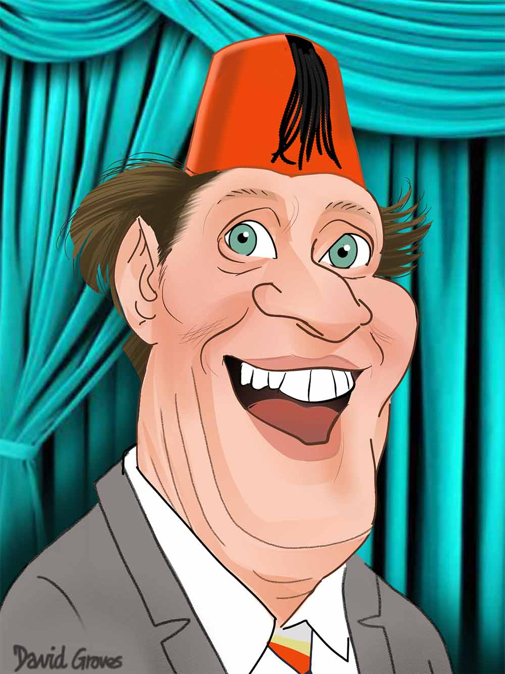 Tommy Cooper caricature and cartoon