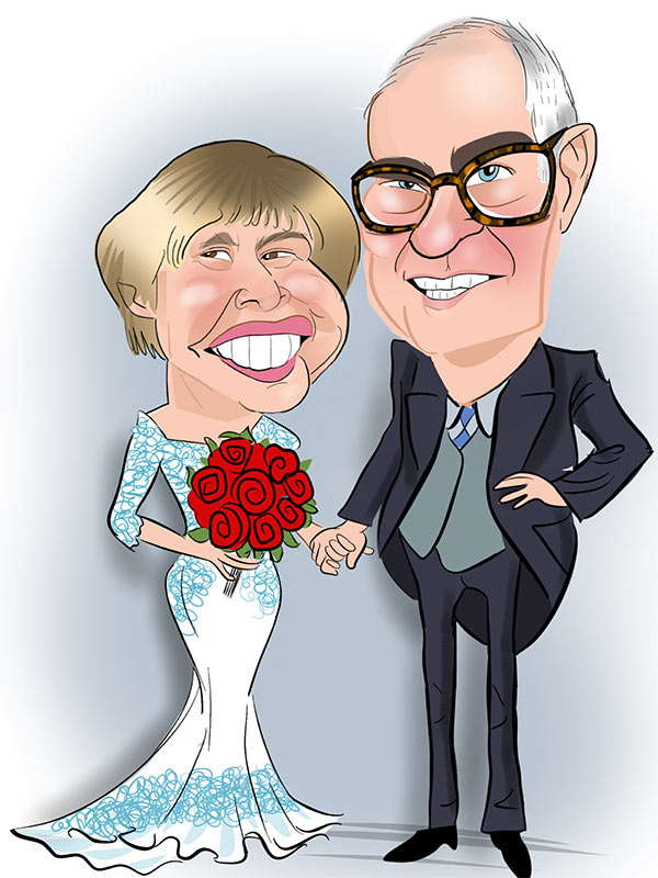 digital caricature for bride and groom
