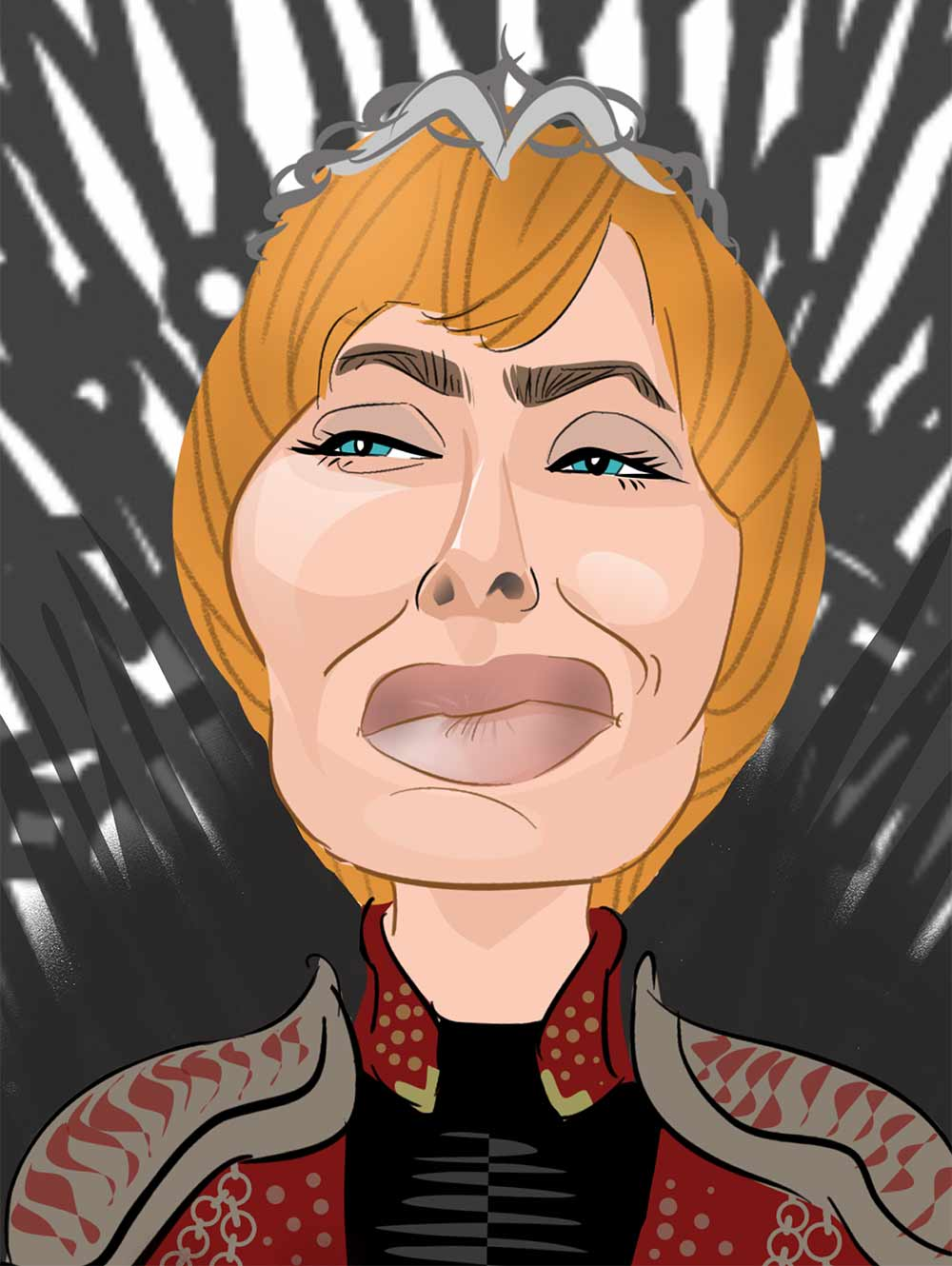 cersei lannister caricature on the iron throne