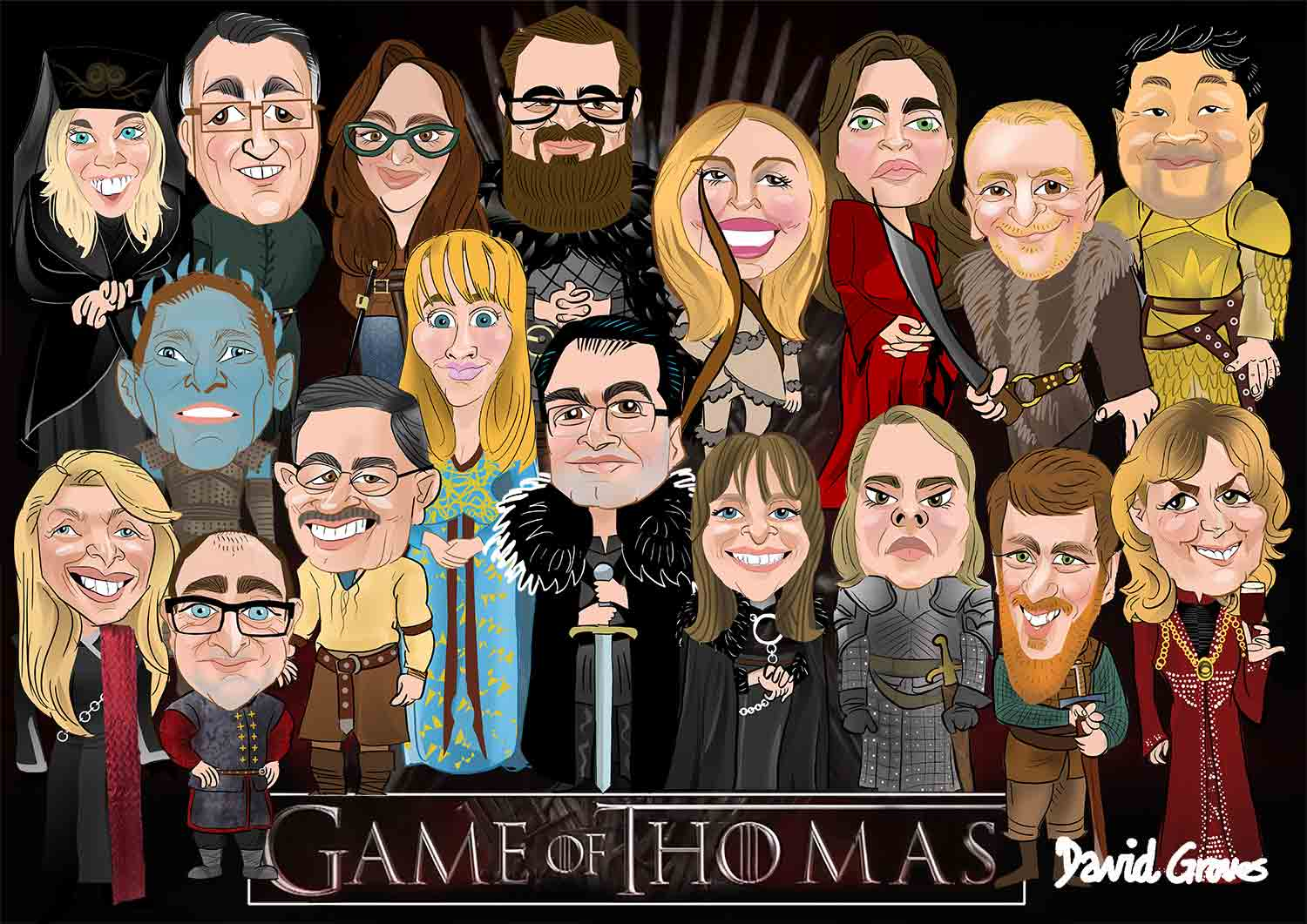 game of thrones, group gift caricature