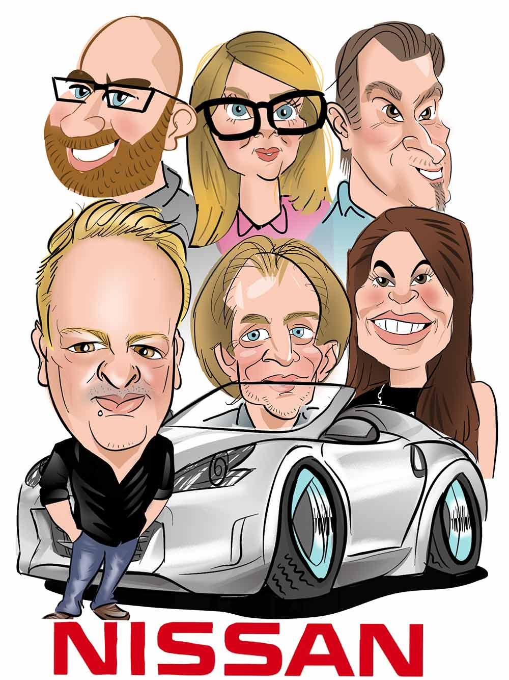 Group Caricature for nissan portrait size